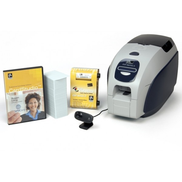 ZEBRA QuikCard ID Value Bundle: ZXP Series 3 single side card printer with software, ribbon, cards and camera